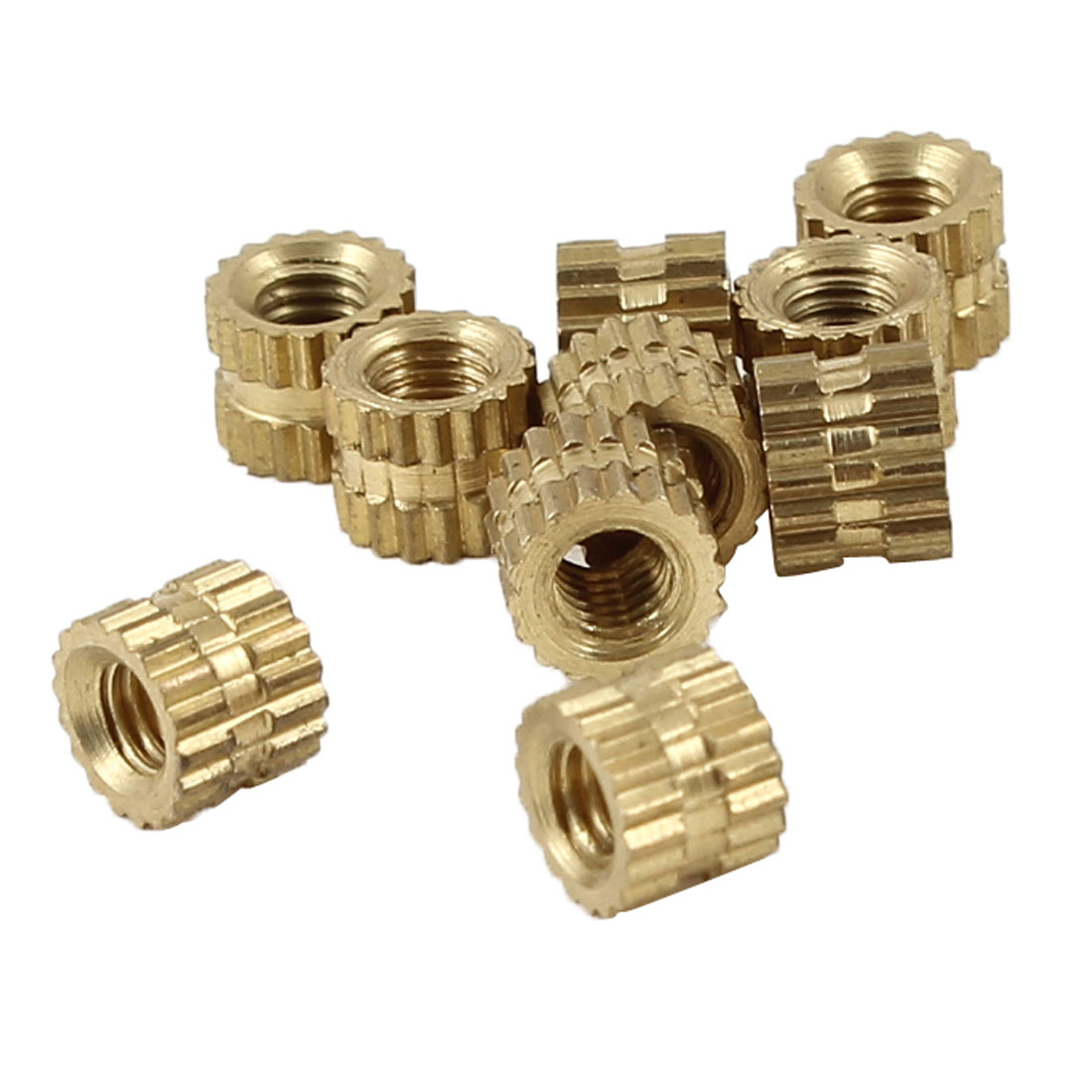 10 Pcs Knurl Brass Fittings 3mm Thread Inserts 5mm x 4mm for Injection Molding