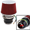 "Red Black 63mm 2.5"" Inlet Dia Adjustable Hose Clamp Conical Mesh Car Truck Air Filter"