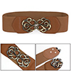 Lady Bronze Tone Flower Interlock Buckle Style Textured Elastic Cinch Belt Brown