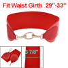 Woman Gold Tone Chain Hook Closure Red Stretchy Band Cinch Belt Dress Decor