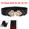 Hollow Out Chinese Knot Interlocking Buckle Elastic Waist Belt Black for Ladies