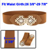 Hollow Out Chinese Knot Interlocking Buckle Elastic Waist Belt Brown for Women