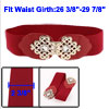 Hollow Out Chinese Knot Interlocking Buckle Elastic Waist Belt Red for Women