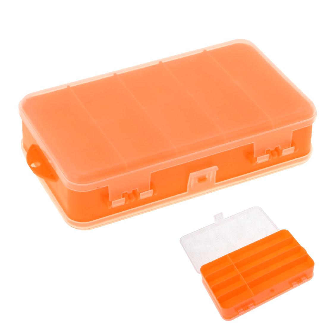 Orange Plastic 8 Compartments Angling Fishing Box Case