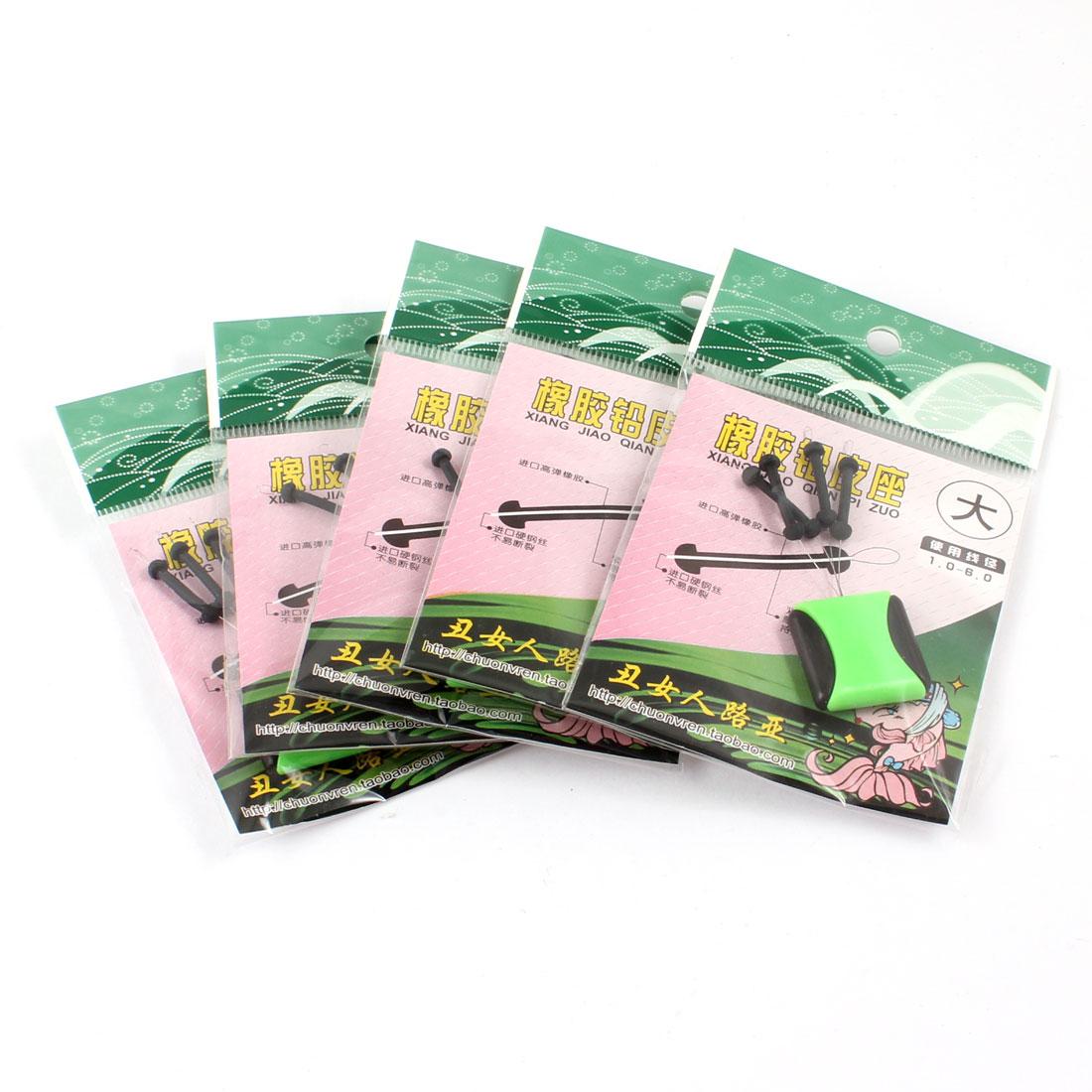 Black Green Rubber Stopper 4 in 1 Fishing Floater Bobber Sinker 5 Pcs