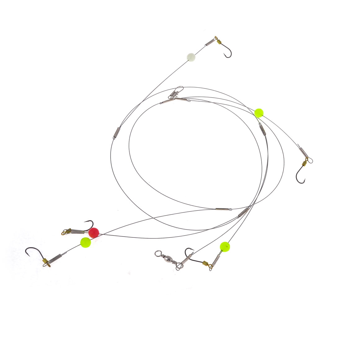 3.4Ft Length Cord Attach 12# Hook Fish Wire Leader Set for Angling