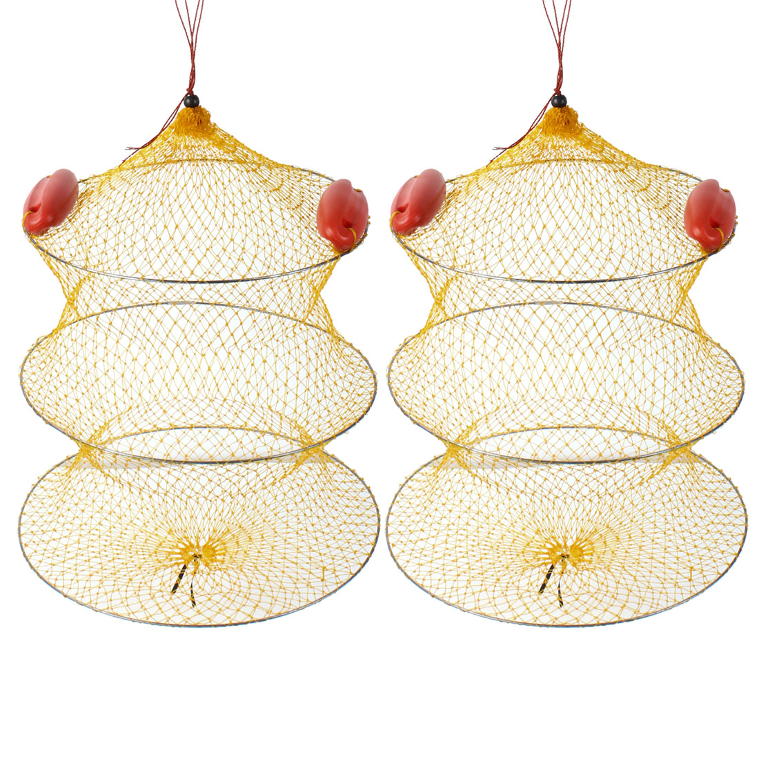 2 Pcs Yellow Nylon Foldable 2 Sections Crab Lobster Fish Cage Fishing Net
