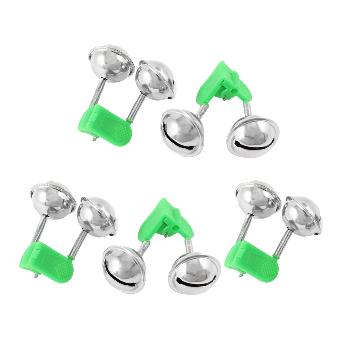 5 Pcs Metal Plastic Angling Fishing Dual Alarm Bells w Clip Green