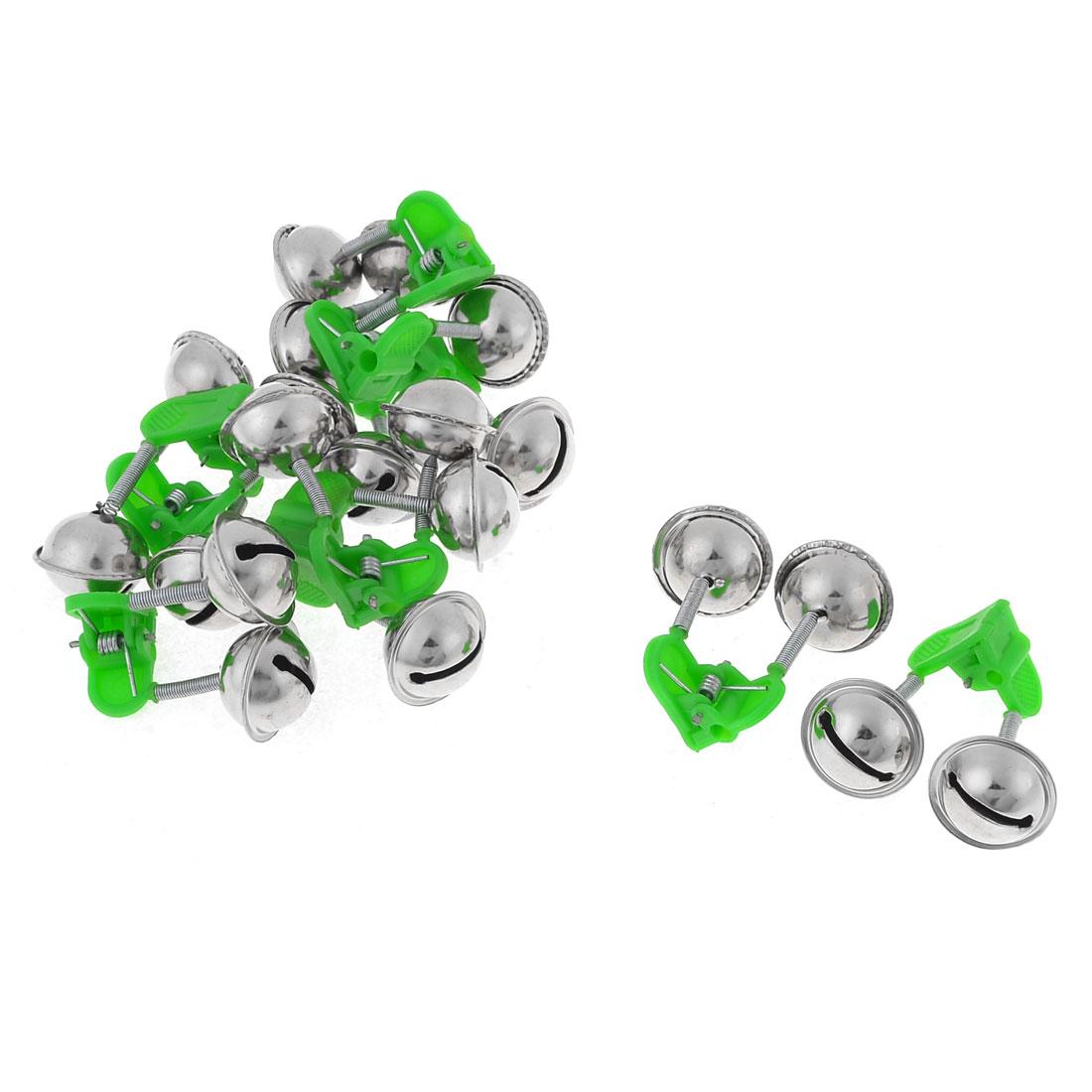 10 Pcs Green Plastic Clip Double Rings Fishing Alarm Bells
