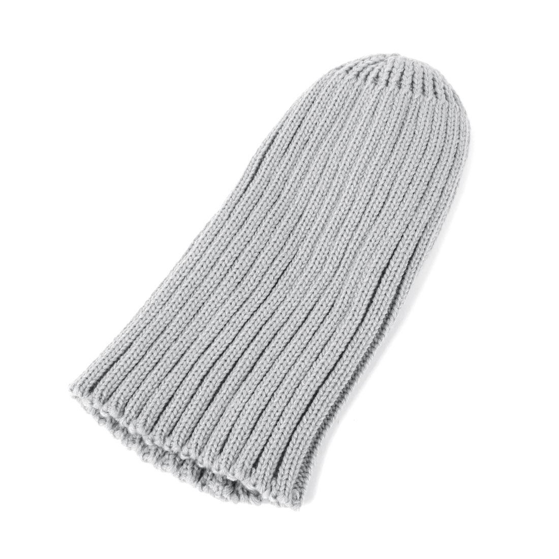 Light Gray Ribbed Pattern Acrylic Winter Warm Knit Beanie Hat for Man