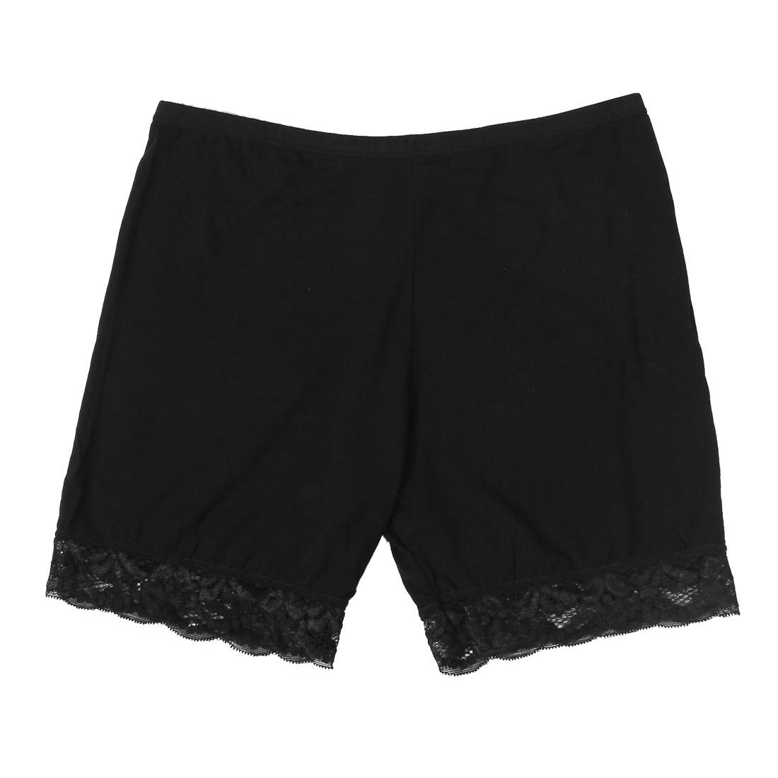 Women Lace Brim Elastic Waist Safety Panties Boyshort Boxers Black XS