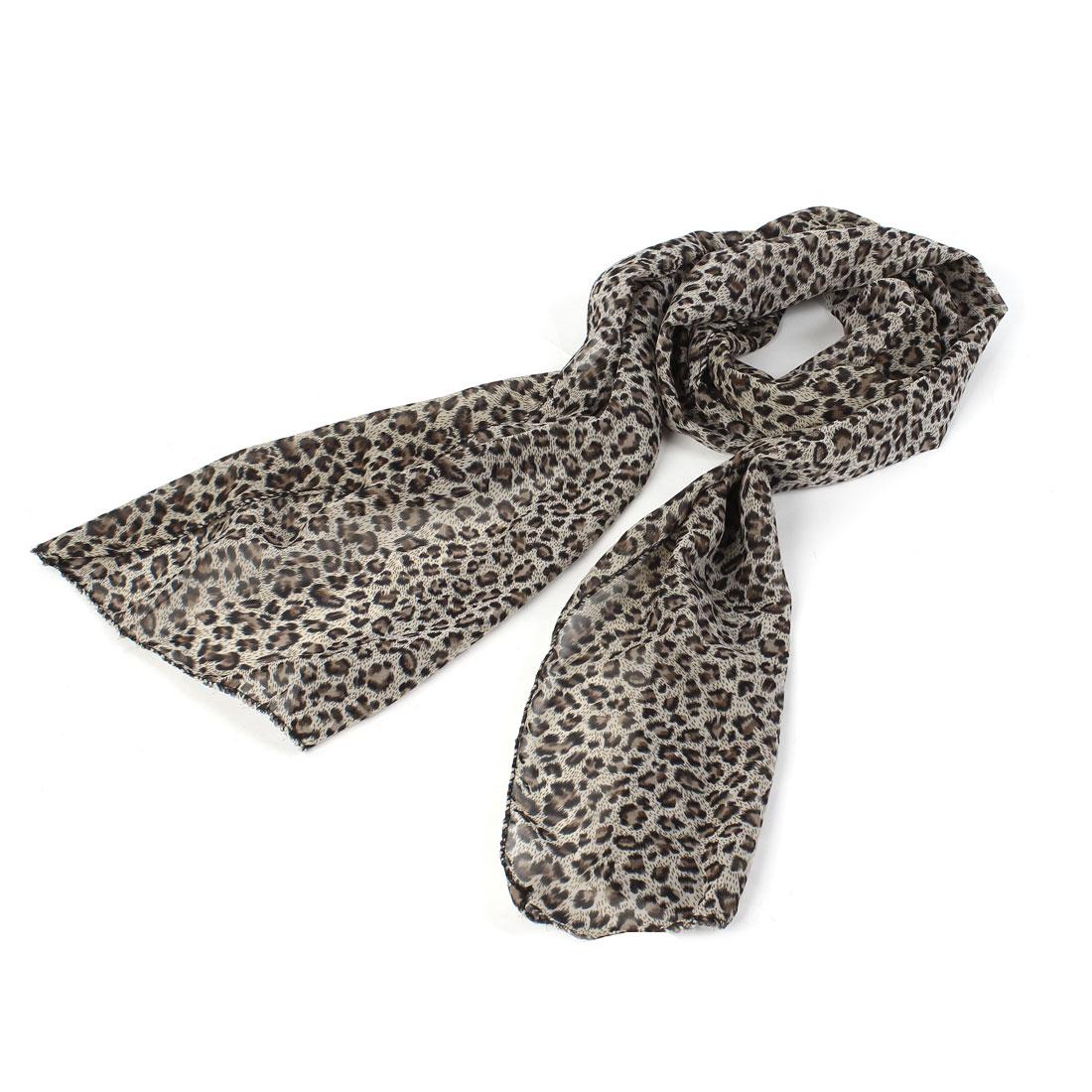 Ladies Leopard Pattern Chiffon Neck Scraf Neckerchief Brown Black