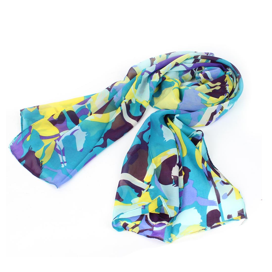 Ladies Camouflage Pattern Long Chiffon Scarf Stole Shawl Yellow Blue
