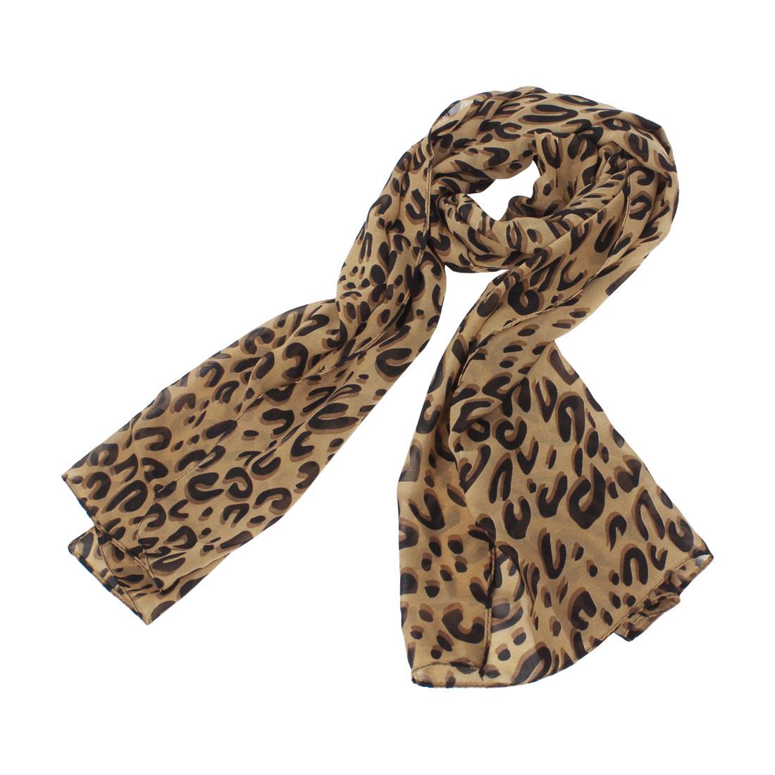 Leopard Pattern Semi-sheer Neck Scarf Wrap Neckerchief Brown Black