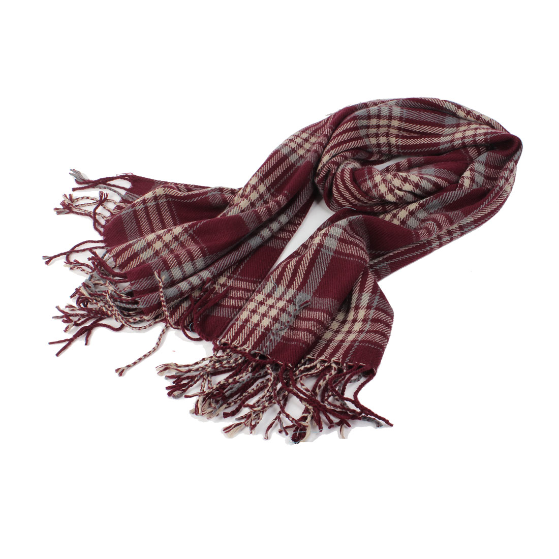 Women Winter Fall Check Pattern Neck Scarf Wrap Shawl Burgundy
