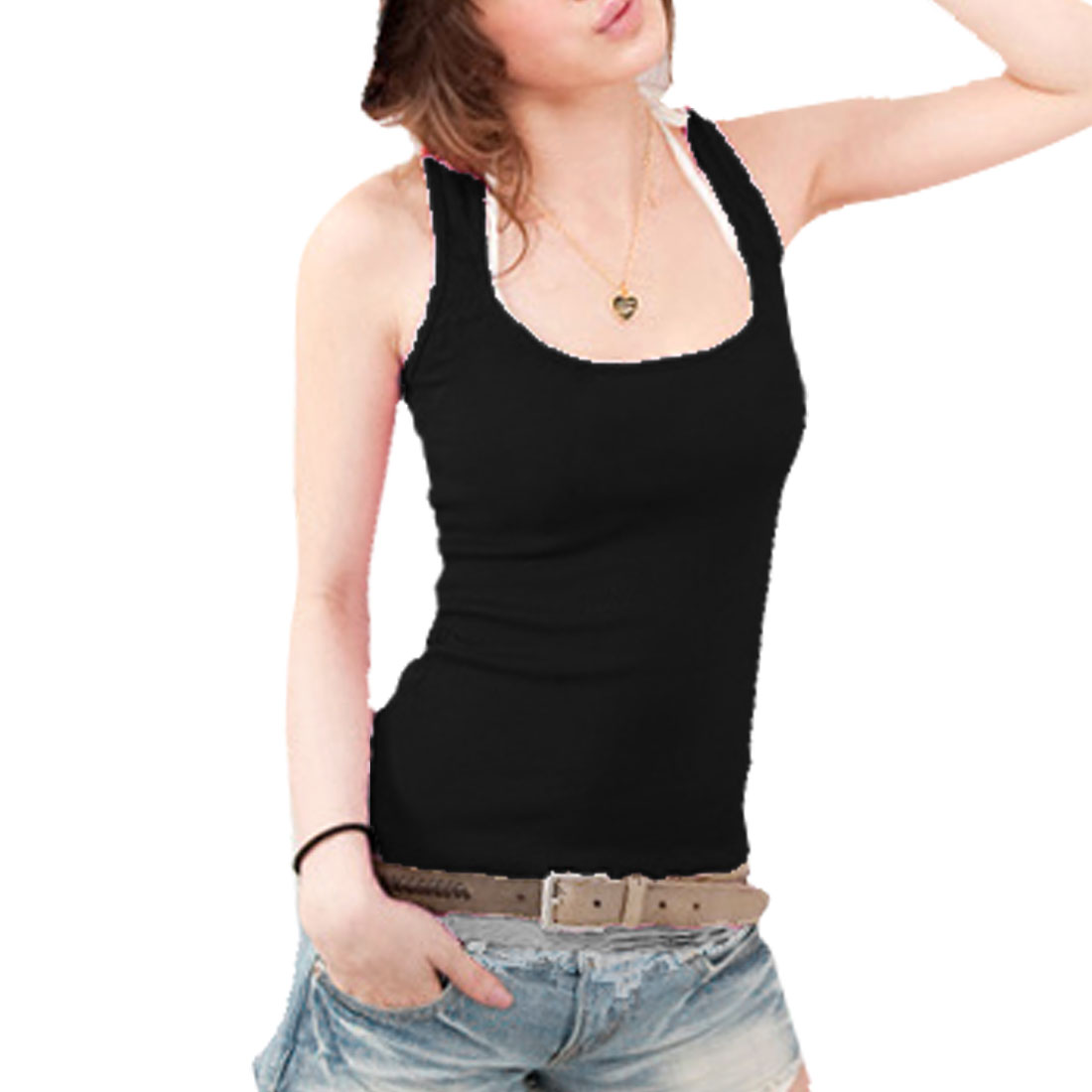 Black Scoop Neck Form-fitting Casual Cami Vest Tank Top XS for Ladies