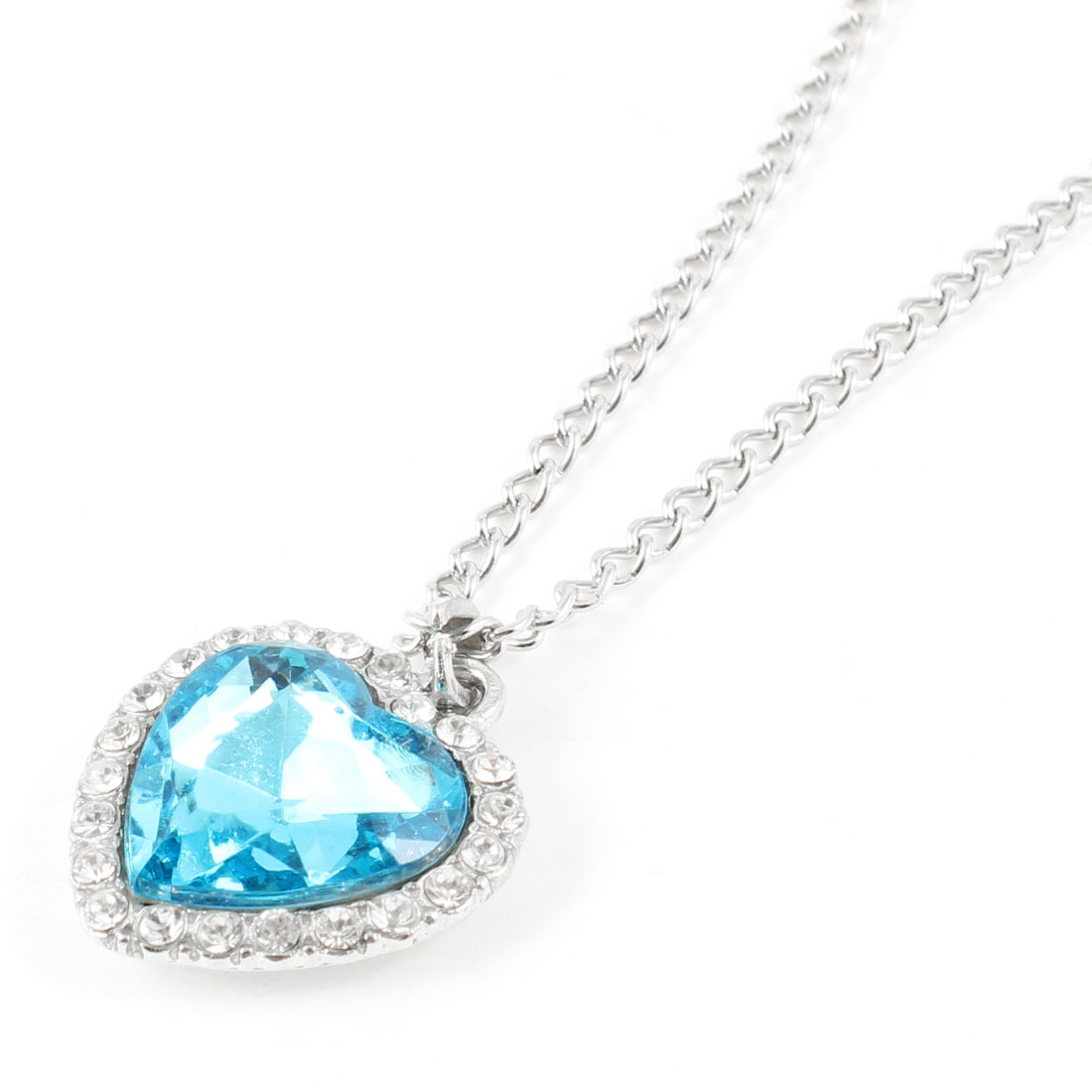 Lady Turquoise Plastic Crystal Decor Heart Shaped Pendant Metal Necklace