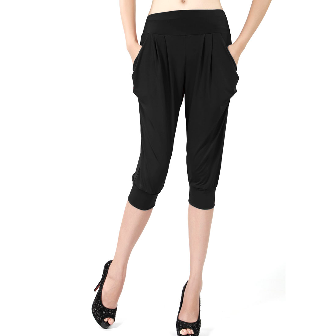 Women Elastic Waist Pockets Side Sports Harem Style Cropped Pants Black XS