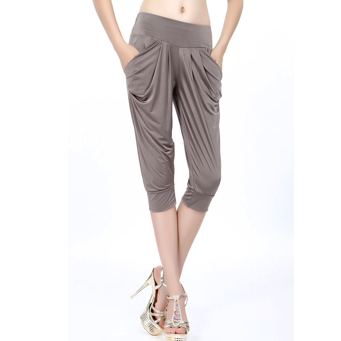 Women Elastic Waist Pockets Side Sports Harem Style Cropped Pants Gray XS