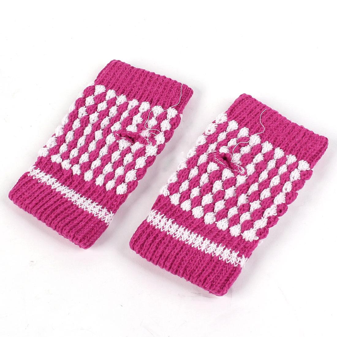 Ladies Winter Knitted Elastic Cuff Palm Warm Fingerless Gloves Fuchsia Pair
