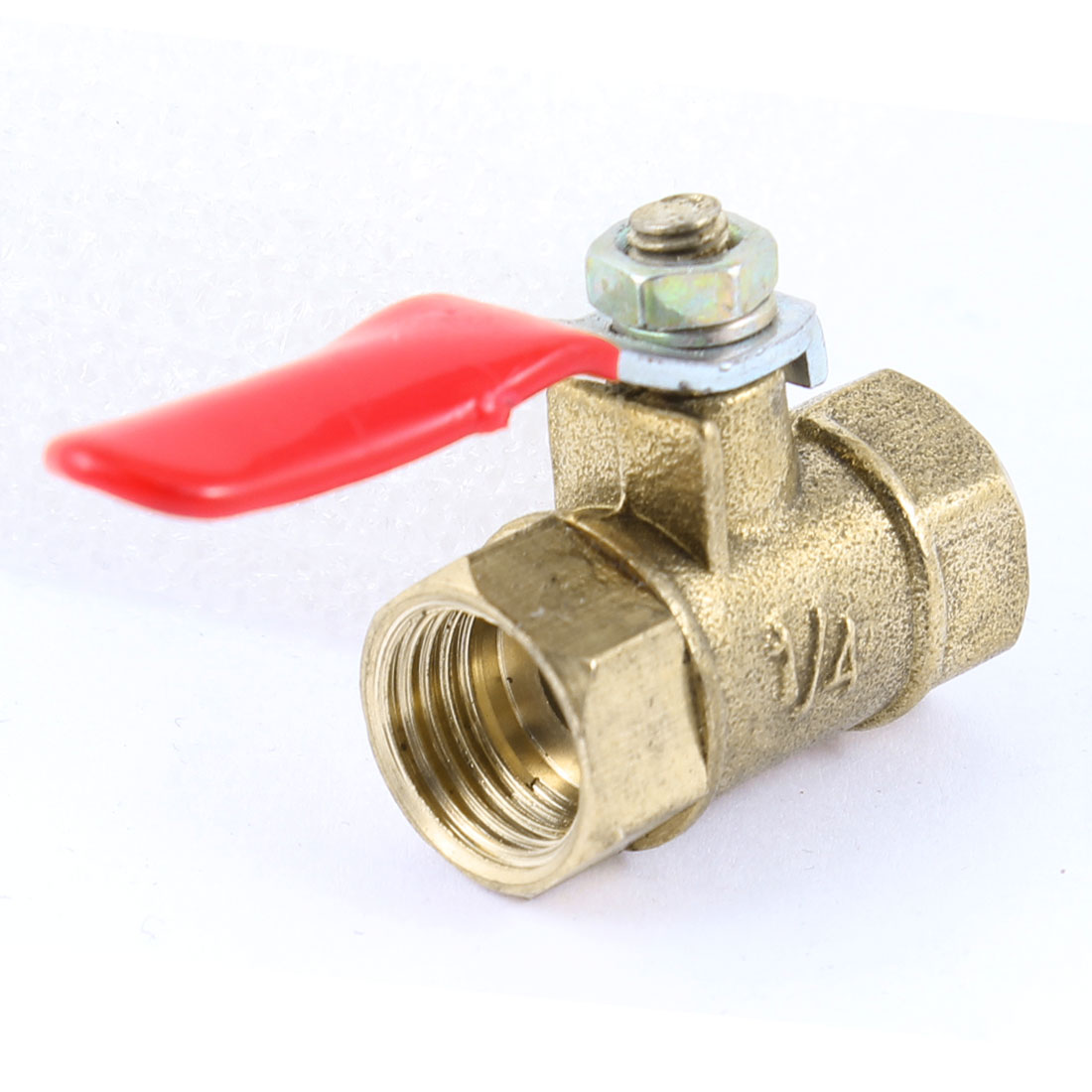 "1/4"" PT Female Threaded F/F Red Lever Handle Full Port Brass Ball Valve"