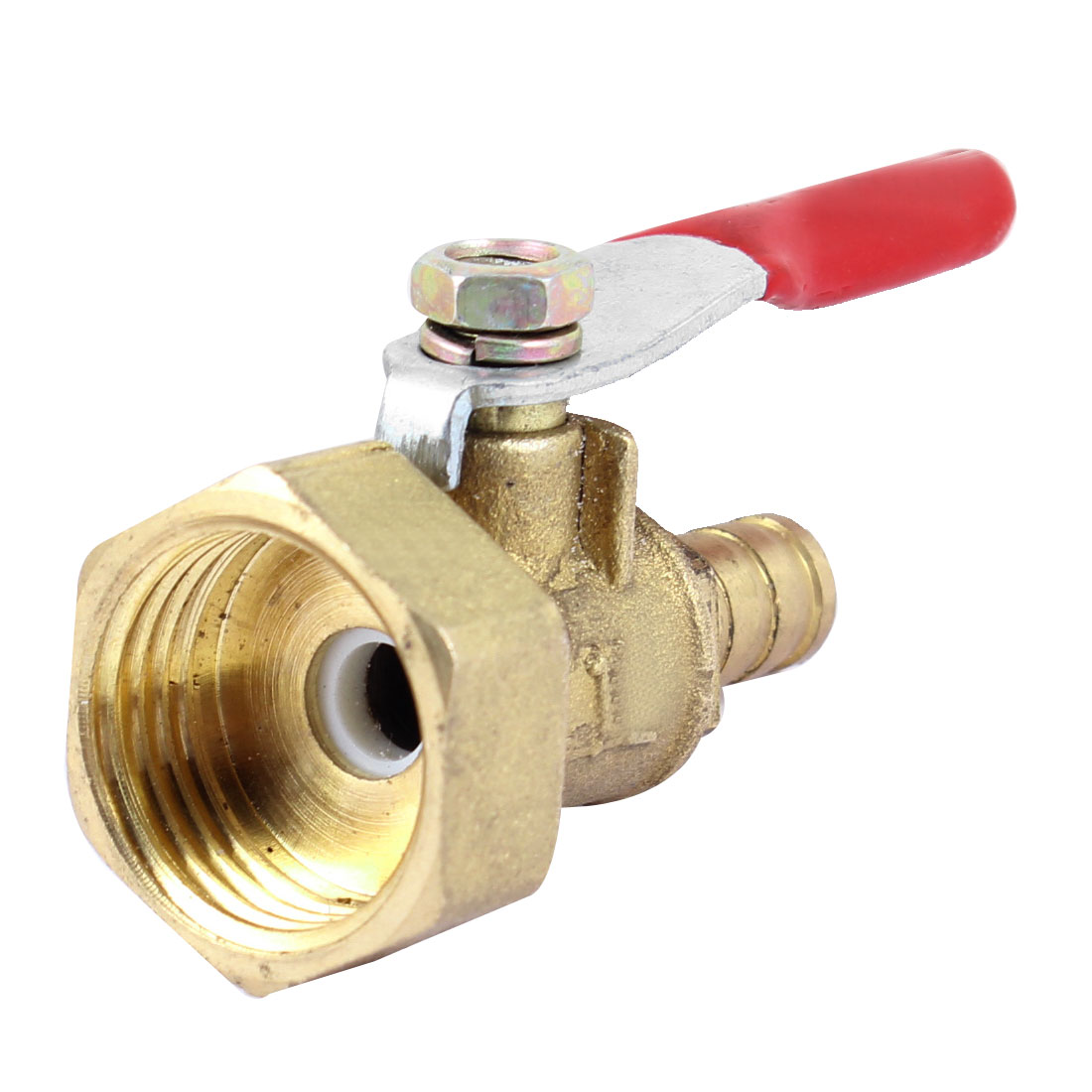 "Gold Tone 1/2""PT Thread Full Port Lever Handle Hose Barb Brass Ball Valve"