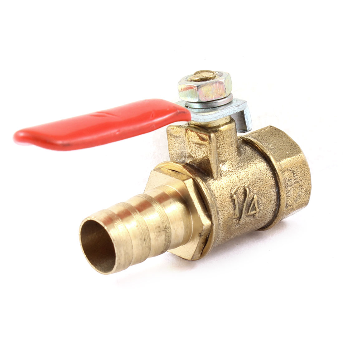 "1/4"" PT Female Thread to 10mm Dia Barb Connector Brass Ball Control Valve"