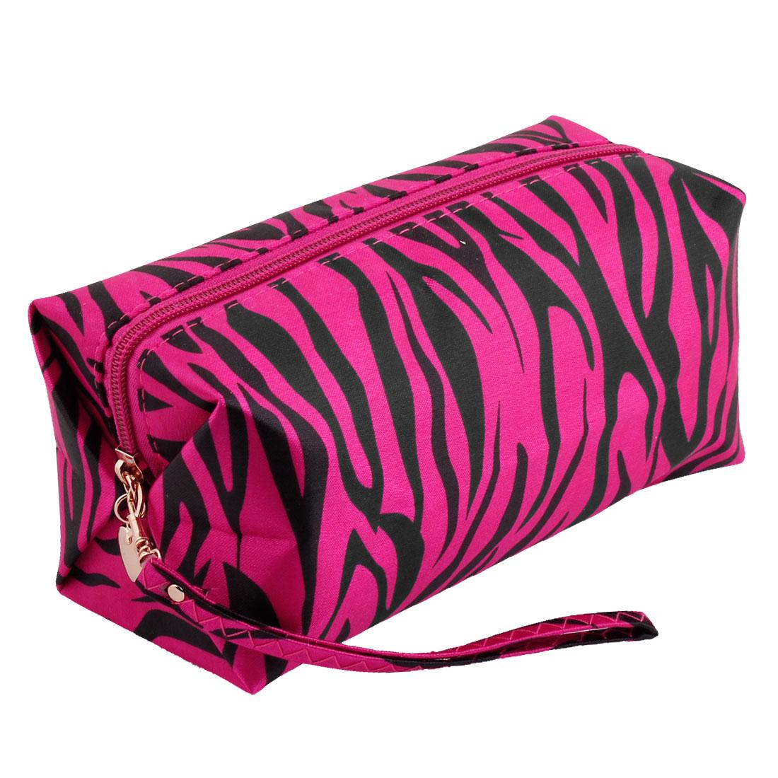 Lady Zipper Closure Black Zebra Pattern Toiletries Cosmetic Pouch Bag Fuchsia