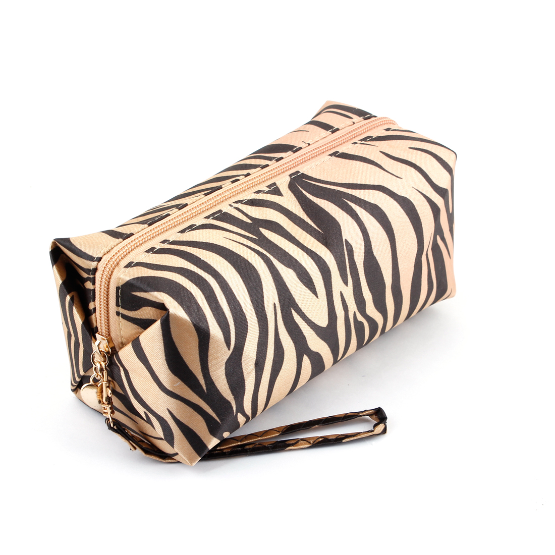 Women Zippered Black Zebra Pattern Toiletries Cosmetic Pouch Bag Brown