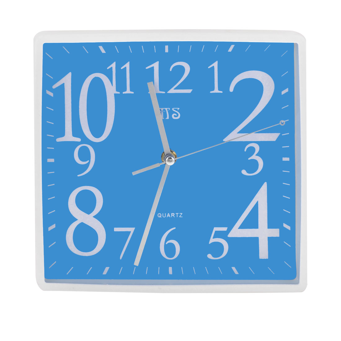 Office Blue White Square Shaped Shell Wall Mounted Alarm Clock