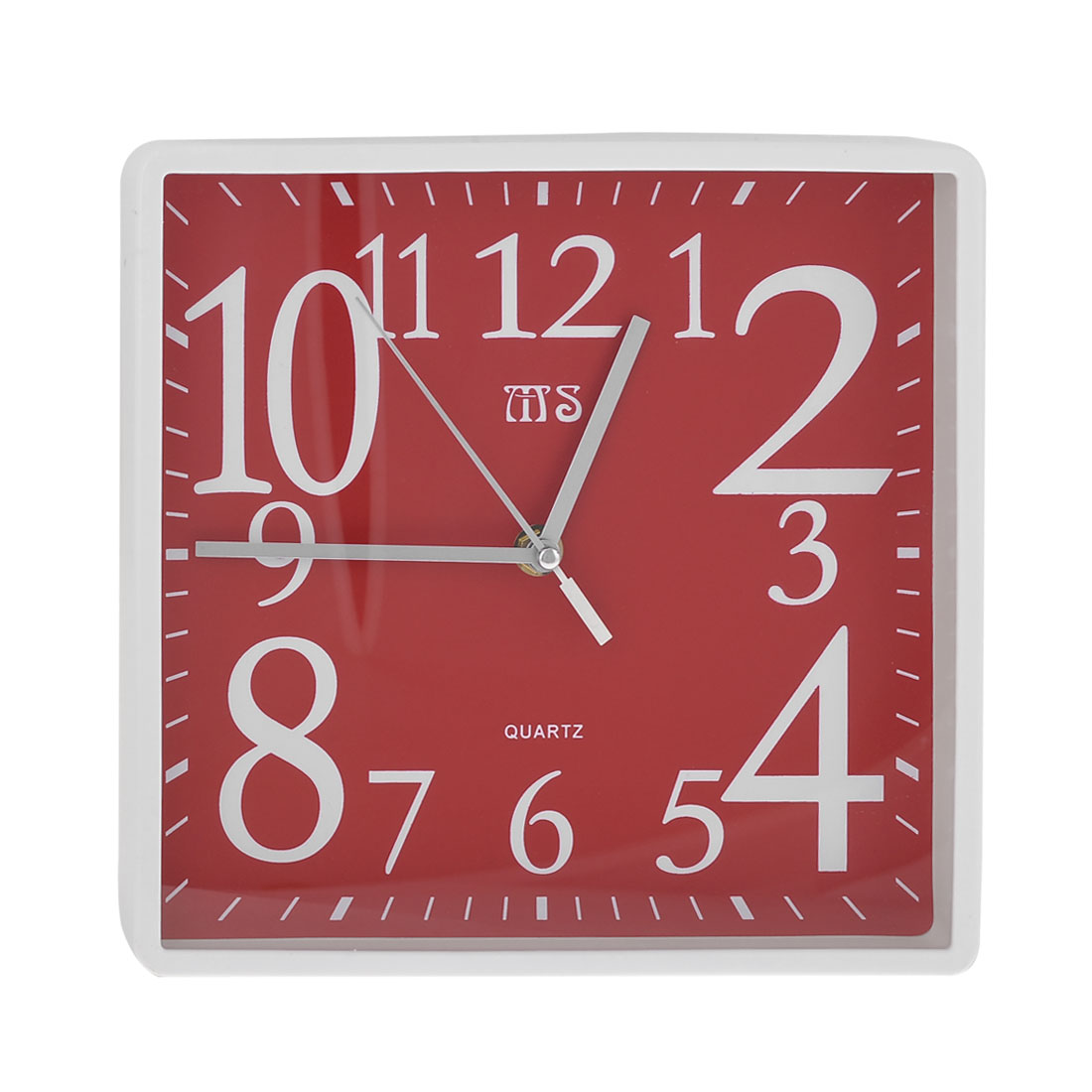 Red White Plastic Square Shell Analog Wall Alarm Clock for Bedroom