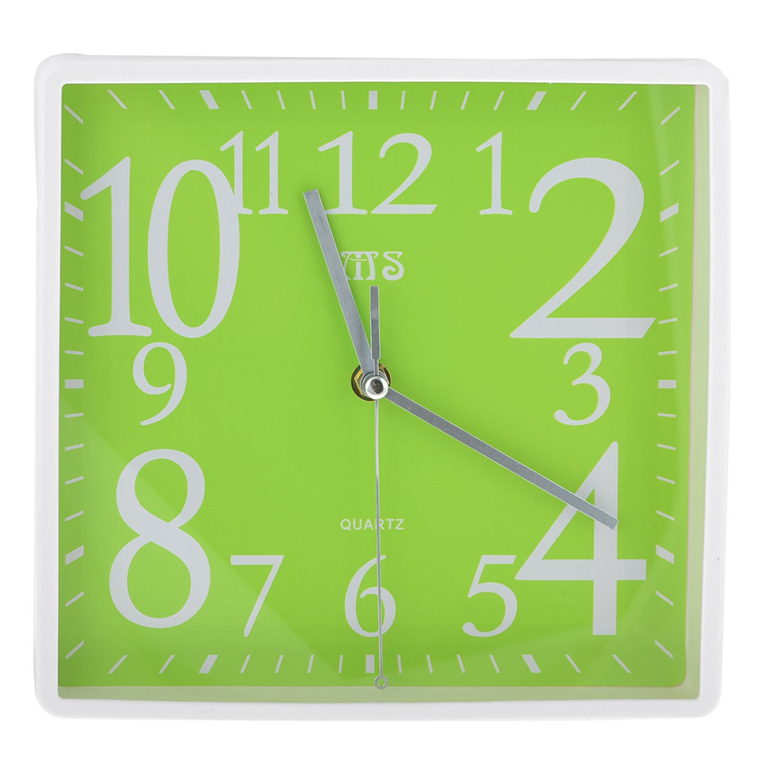 Office Green White Square Shaped Shell Wall Mounted Alarm Clock