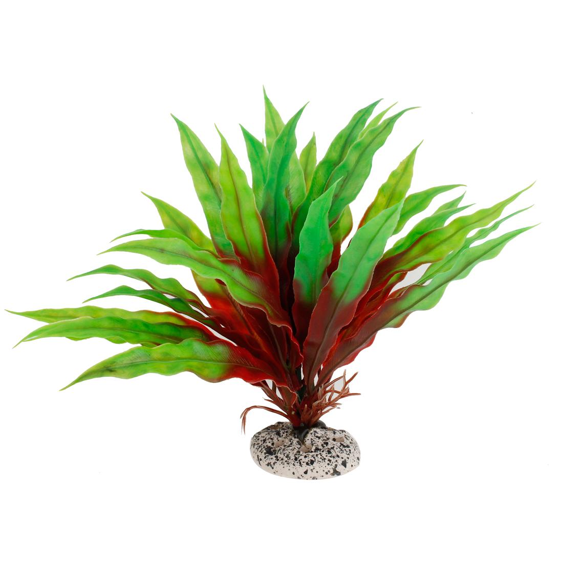 "Fish Tank Aquarium Decorative Emulational Plastic Plant Green Red 7.5"" Height"