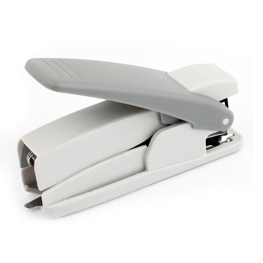 Hand Press Type Stapling Machine Paper Binder Stapler Light Gray
