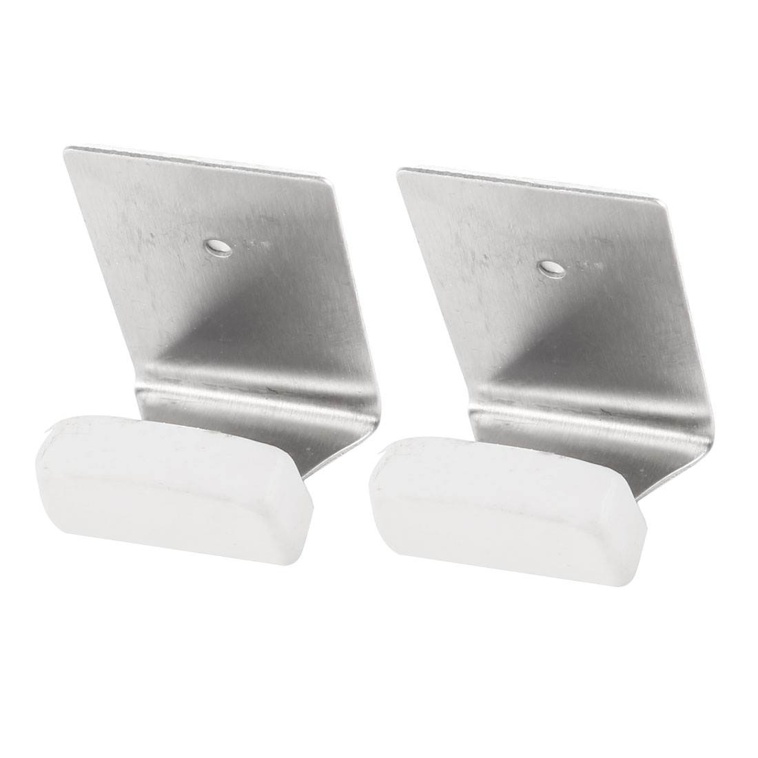 Pair Wall Mounted Hanger Picture Frame Metal Hook Silver Tone White