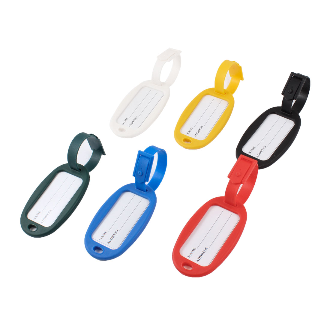 Assorted Color Hard Plastic Suitcase Luggage Label Tag 6 Pcs for Travellers