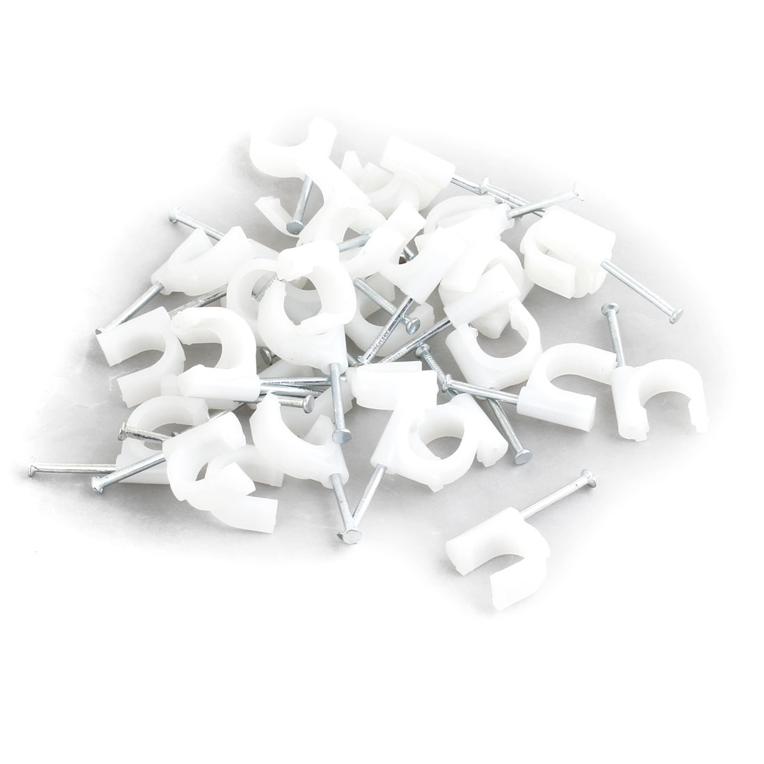 34 Pcs Plastic Wall Insert Inner Width 11mm Circle Cable Wire Nail Clips