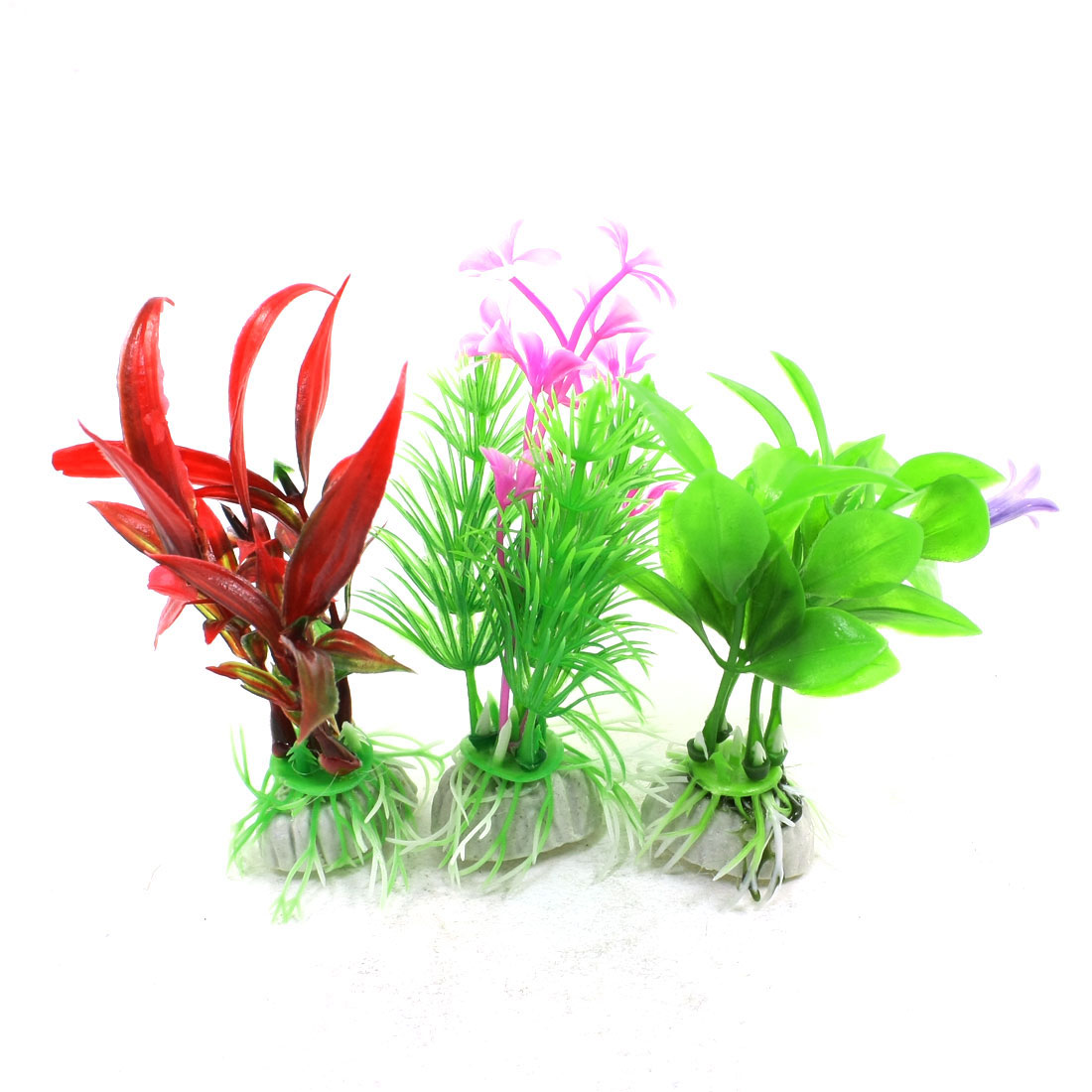 3 Pcs Green Red Pink Plastic Water Plant Decoration for Fish Tank