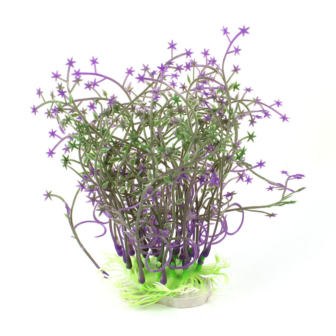 "Purple Star Detail Green Artificial Underwater Grass Ornament 6.1"" for Aquarium"