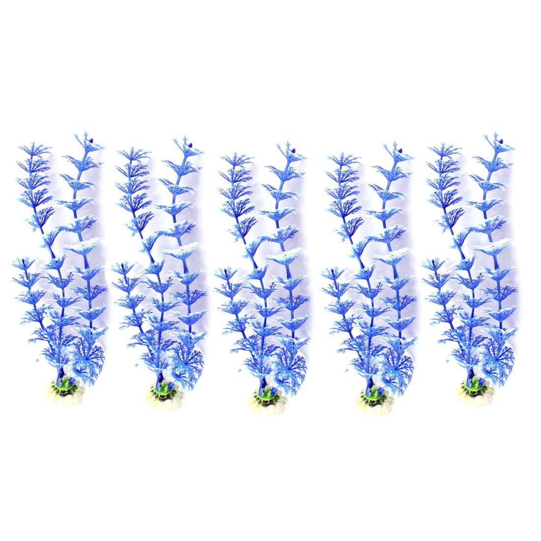 "5 Pcs Aquarium Ornament Snowflake Grass Plant Blue White 8.7"" High"