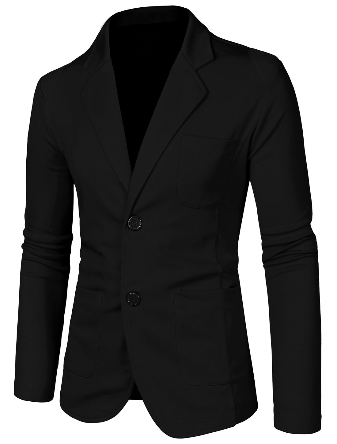 Men Notched Lapel Long Sleeve Pockets Thin Blazer Black L