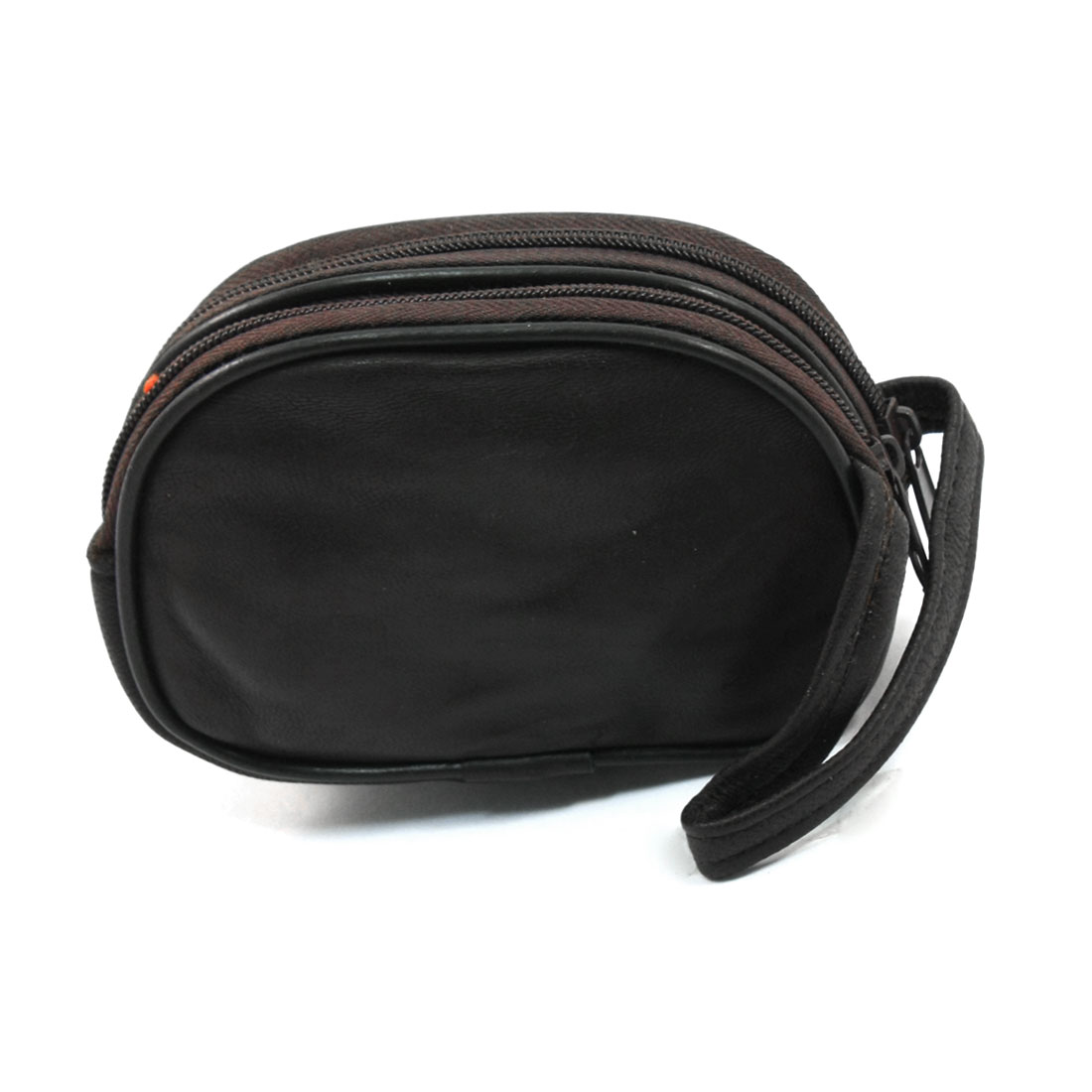 Women Dark Brown Litchi Pattern Faux Leather Bag Coin Pouch Purse w Hand Strap