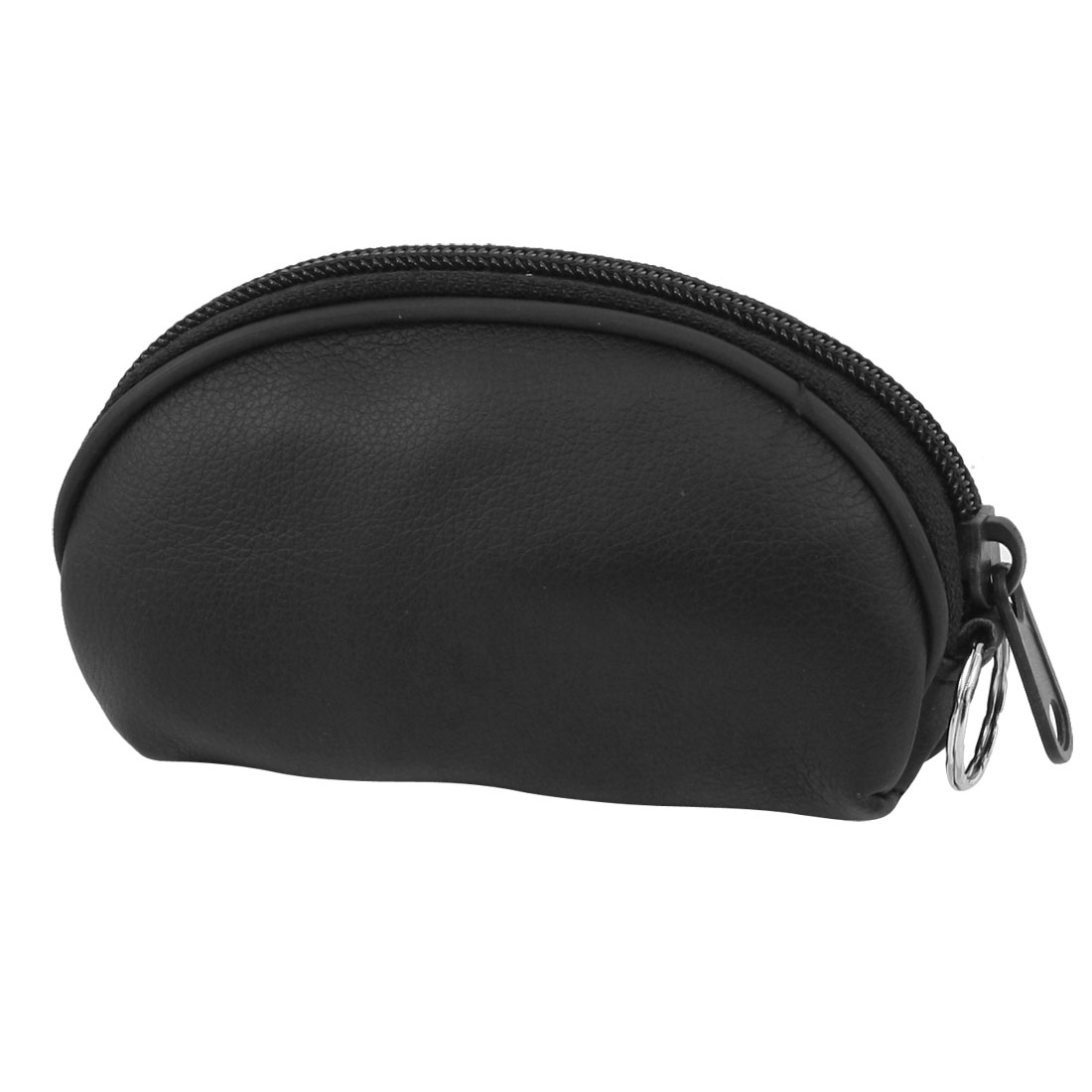 Black lichee Pattern Faux Leather Zip Up Purse Wallet Bag for Ladies