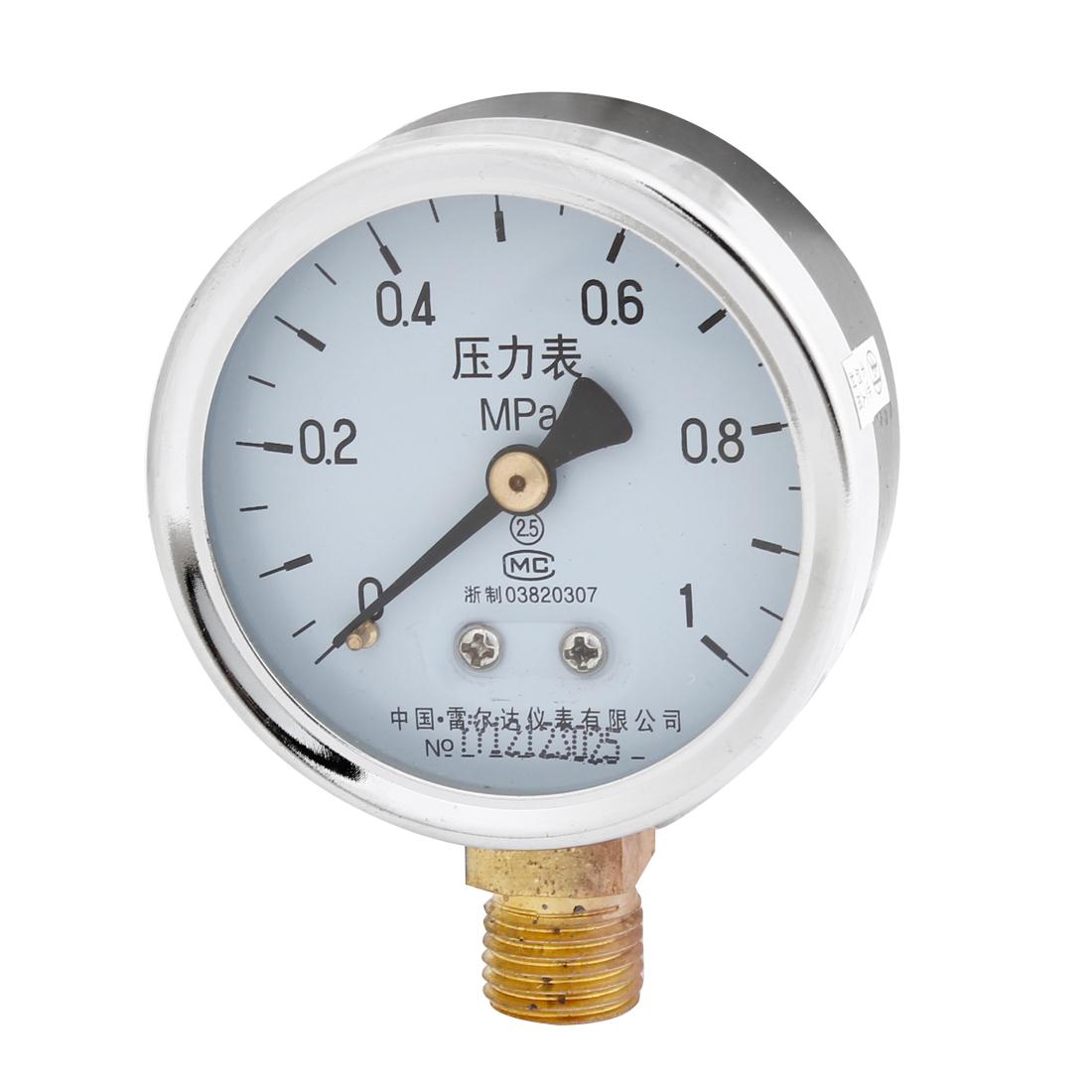 """0-1Mpa 2.5 Class 1/4""""PT Thread Metal Case Gaseous Air Pressure Gauge"""