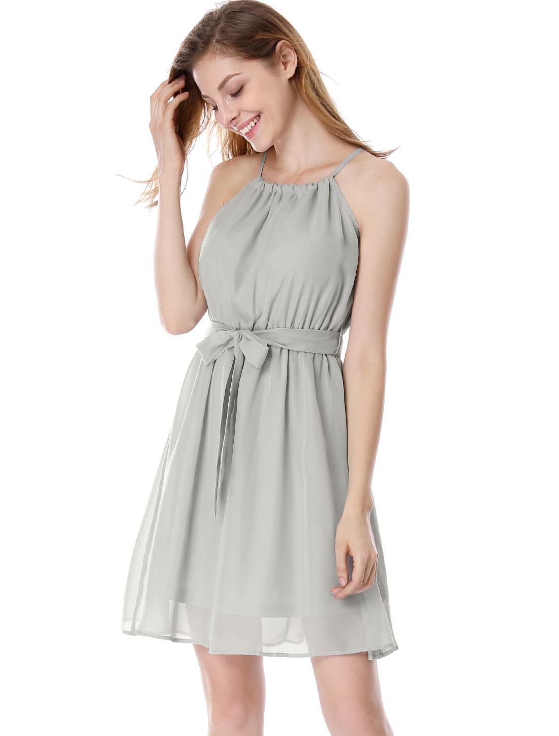 Ladies Chic Halter Neck Sleeveless Light Gray Dress w Waist Strap S