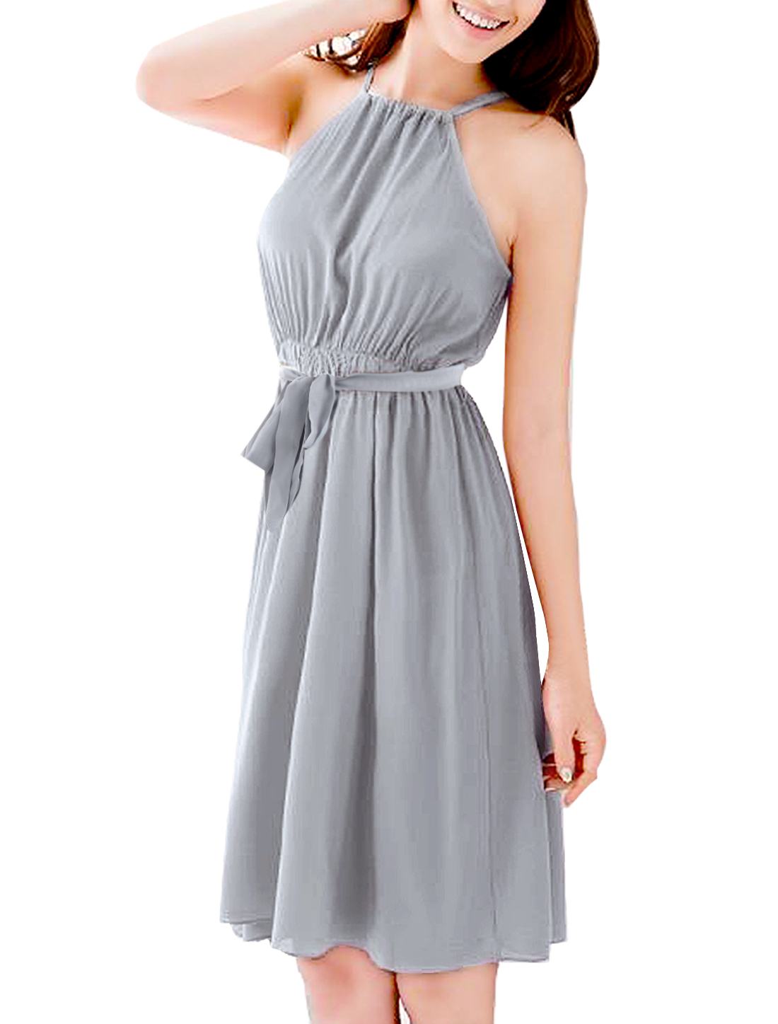 Woman Chic Drawstring Halter Neck Light Gray Summer Dress M