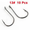 10 Pcs Dark Gray Barbed Eye Hole End Fishing Tool Fishhooks Hooks 13#