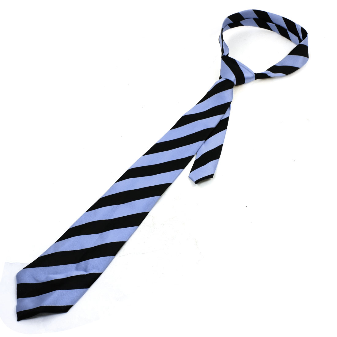 Men Diagonal Stripes Black Light Blue Adjustable Neckwear Neck Tie