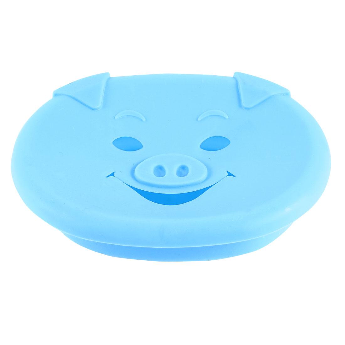 Bathroom Blue Lovely Pig Design Plastic Oval Case Soap Dish Box Holder