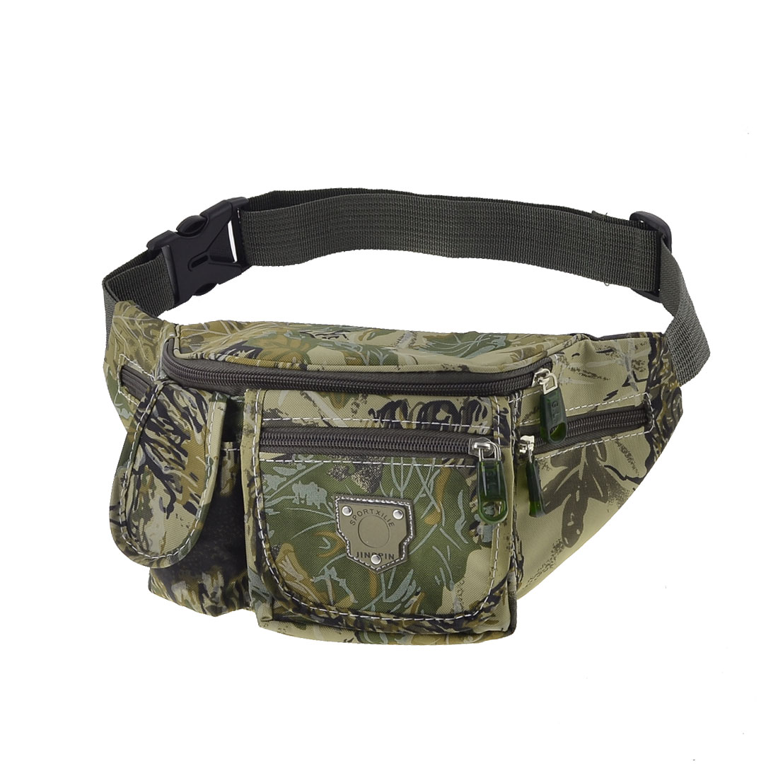 Man Hiking Camouflage Pattern Multiple Pockets Adjustable Waist Pack Green Khaki